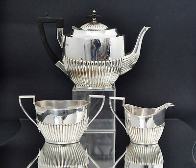 Antique Silver Plated 3pc Tea Set Service By Walker & Hall, Sheffield c.1910s