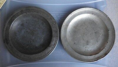 """(2) 8"""" Antique Townsend & Compton of London Pewter Plate 18th Century"""