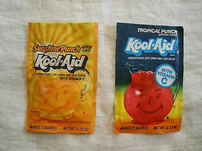 Vtg Kool Aid SUNSHINE PUNCH & TROPICAL PUNCH single drink mix packets UNOPENED