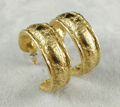 Vintage Designer Givenchy Textured Gold Tone Chunky Hoop Pierced Earrings