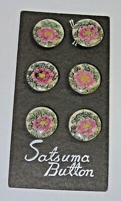 8 Vintage Satsuma Button Buttons Flower Hand Painted Ceramic on Card