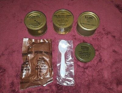VIETNAM ERA C RATIONS LOT COMPONENTS with ACCESSORY PACK NO CIGS