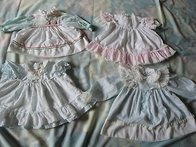 4 Vintage Baby Infant Toddler Party Dress Dresses Ruffled Lace Apron Blue Pink