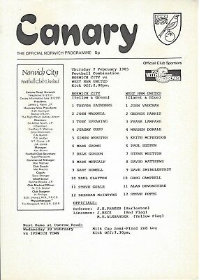 NORWICH CITY RESERVES v WEST HAM UNITED 84-5 Football Combination Programme