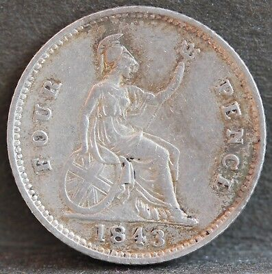 Victoria. Sterling Silver Groat / Fourpence, 1843. No.2, VF