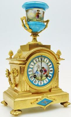 Rare French Ormolu Sevres Porcelain Urn Top Mantel Clock Children Playing C1860
