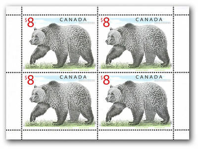 "Canada - Sc # 1694  $8 Wildlife ""Grizzly Bear "" Pane of 4  MNH"