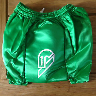 Shiny Nylon Retro short shorts green with padded sides 26/28""