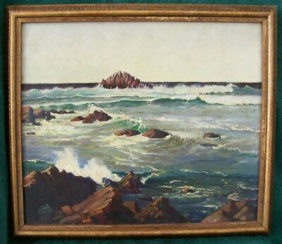 """BEN C. HOLLADAY CALIFORNIA AMERICAN IMPRESSIONIST SEASCAPE OIL PAINTING 14x12""""NR"""