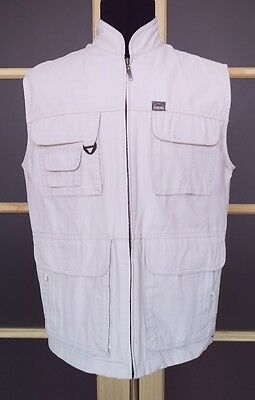 Pacific Trail Outdoor Wear Sz M Beige Fishing Camping Hiking Cotton Jacket Vest