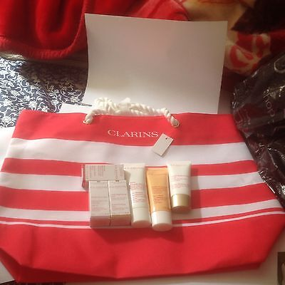 CLARINS GIFT SET/HOLIDAYS/Birthday/6-ITEMS+Beach BAG/Party/Ideal Christmas gift.