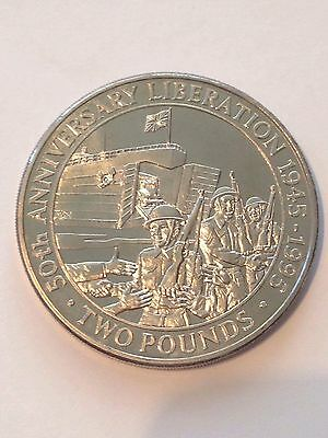 1995 Bunc Bailiwick Of Guernsey £2 Two Pound 50Th Anniversary Liberation Coin