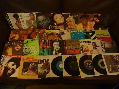 Lot / collection of 31 soul pop singles 80s 90s most pic sleeves most EX
