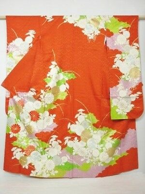 Japanese Furisode/Wedding Kimono Orange/Green Silk Rinzu 'Chrysanth & Ume' 10-14