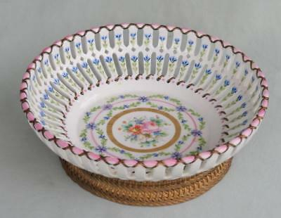 Fine French Hand Painted Reticulated Sevres Style Bowl Woven Metal Ormolu Base