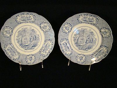 "Pair of Staffordshire Transferware Ridgways ""Oriental"" Blue Cereal Bowls"