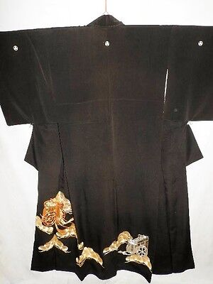 Japanese Black Crepe Tomesode/Wedding Kimono/Coat 'Gold/Silver Carriages & Pine'