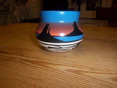 Navajo Native American Pottery Small Vase Hand Painted Signed