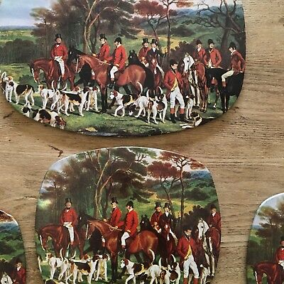 Set Of Vintage Fox Hunting Table Mats Placemats