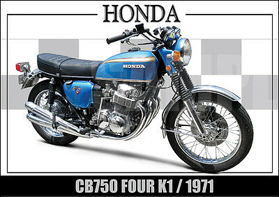 Honda Cb750 Four K1 (1971) Laminated Motorcycle Print / Poster New