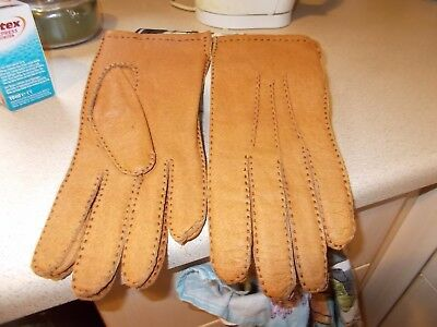Ladies Vintage Smart Brown Real Leather Driving Gloves 7.5