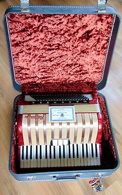 Vintage Red M. Hohner Accordion With Case No. DBGM-17096773, 120 Bass Keys...