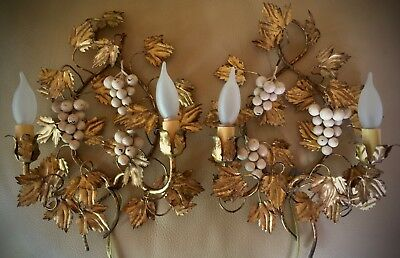 Vtg Pair Italian Tole~Gold Gilt Leaf Florentine Electric Wall Sconces~Grapes~Euc