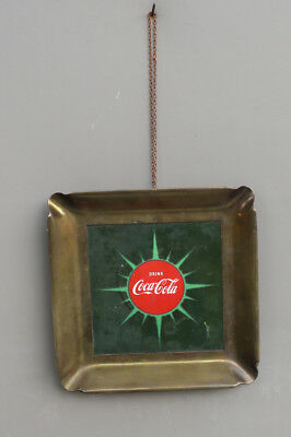 1950s Coca Cola Button Scarce Brass Wall Sign