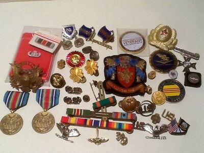 Huge Lot 40+ Military Items.pins.medals.ribbons.more-Vintage To Modern-Variety