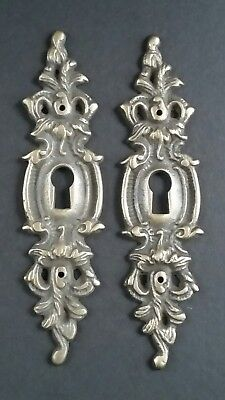 "2 Vintage Antique Style Ornate French Eschutcheons Key Hole Covers 4 3/4""  #E11"