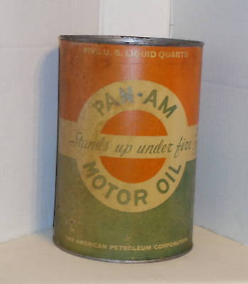 Vintage Original Pan Am Oil Gas 5 Quart Can