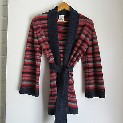 Vtg 70s space dyed Cardigan w/belt blue red stripe lambswool angora 14 m L wrap