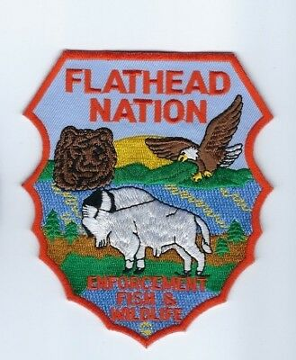 Flathead Indian Nation MT Montana Enforcement Fish & Wildlife patch *Cloth Back*