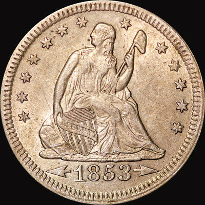 1853 Liberty Seated Quarter Arrows And Rays