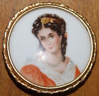 Limoges Hand Painted Portrait Brooch Made In France