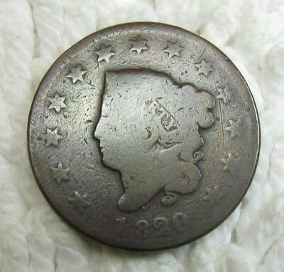 1820  LARGE CENT  -  G Coin  - Coronet Head  -  Readable Date!