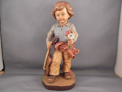 """Old Vintage Anri Carved Wood Boy w Flowers & Cello 8 3/4"""""""