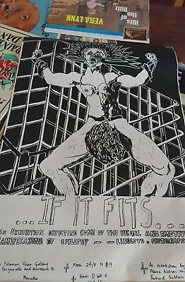1980s Art poster if it fits Linocuts Exhibition Epilepsy Canberra original