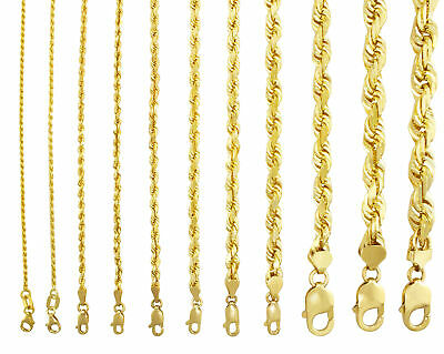 "10K Yellow Gold 1mm-10mm Diamond Cut Solid Rope Chain Pendant Necklace 16""- 32"""