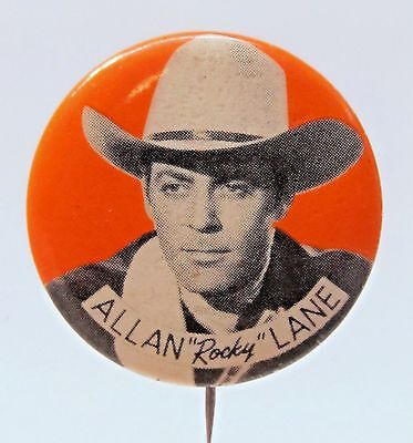 1940's cowboy ALLAN ROCKY LANE Portrait pinback button TV movies Western *