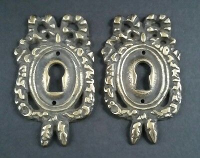 "2 Vintage Antique Style Ornate French Eschutcheons Key Hole Covers 2 1/2"" #E13"