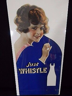 1920s Whistle Large Bottle Display CardBoard Cutout Store Display rare Vintage