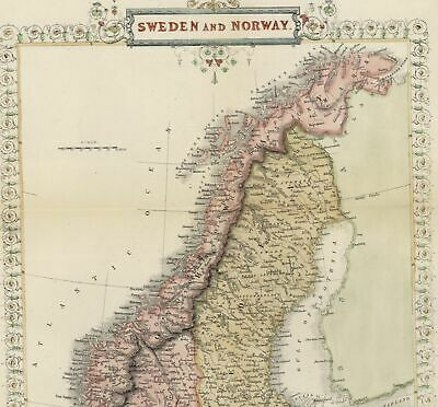 Sweden Norway Denmark Scandinavia c.1850 Tallis old color map flower border