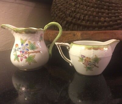 """Herend Queen Victoria 2 Individual or Mini Creamers 2"""" and 3 1/4"""" Both Pristine"""