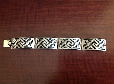 Mexico Sterling Silver Tc-49 Panel Link Bracelet