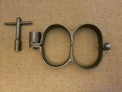 Unique Very Rare German Figure 8 Handcuffs with Key