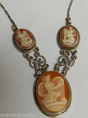 Antique , Victorian  Shell Carved  Women With Harp  Cameo  Ornate Necklace