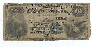 $10 National Currency Bank Note McAlester Oklahoma 1882 Series Blue Seal