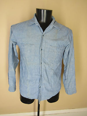 VINTAGE 1960's CHAMBRAY WORK SHIRT US Navy size Small