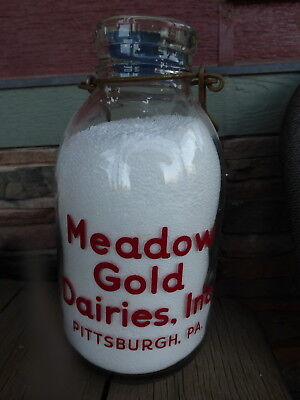 Meadow Gold Dairies Pittsburgh PA Half Gallon wide mouth jug bottle